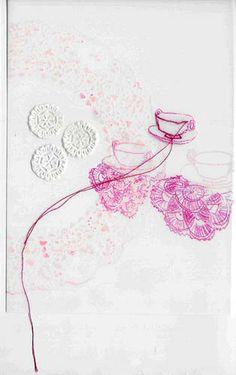 Teacups Pink - Lápis colorido, aquarela, grafite e bordado. By: Lisa Solomon www.acasadeviver.com