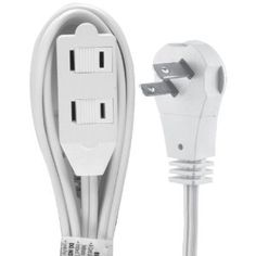 2 prong...GE 50360 6 feet Wall Hugger Extension Cord  low profile
