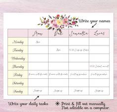 Family Weekly Calendar - Free Printable | Kids | Pinterest ...