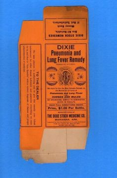 1906 DIXIE Pneumonia and Lung Fever Remedy in Horses And Mules Vintage Advertising