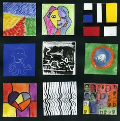 Famous Artist Inchies, Student Project: (L-->R) 1.Impressionist landscapes of Monet, Van Gogh, Seurat 2. Pablo Picasso, Head of a Woman 3. Mondrian 4. Paul Klee, line for a walk  5. Albrecht Durer's printmaking  6. Kandinsky's color studies 7.  Romero Britto  (he is who i would reference for this one) 8. Bridget Riley's Op Art 9. Warhol