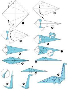 Origami de dinosaure - New Ideas Origami Rose, Instruções Origami, Origami Modular, Origami And Kirigami, Origami Dragon, Origami Bird, Paper Crafts Origami, Useful Origami, Origami Flowers