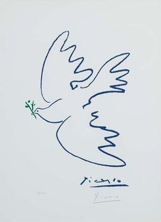 View details of Pablo Picasso Dove of Peace (Colombe de la paix ), an original, hand-signed Picasso lithograph. See purchasing info. Kunst Picasso, Pablo Picasso Drawings, Art Picasso, Picasso Paintings, Art Drawings, Picasso Tattoo, Matisse Tattoo, Picasso Prints, Picasso Sketches