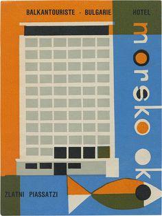 Vintage luggage label: Hotel Morsko Oko, Zlatni Piassatzi (91mm × 68mm) via typeasimage, Flickr