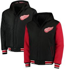 Detroit Red Wings JH Design Fleece Nylon Reversible Hooded Jacket - Black/Red