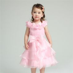 Pink Formal Girl Dresses Children Wedding Princess Flower Girl Vestidos Kids Clothes For Girls Of 2 To 12 Years Old AKF164057 #Affiliate