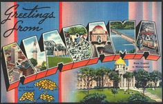 1940s Large Letter Greetings from  Alabama State Vintage Postcard