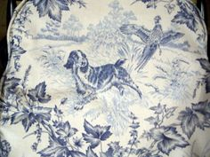 """""""This blue toile is my all-time favorite fabric and it is by Brunswick and Fils."""" #toile #spaniel #blue_white"""