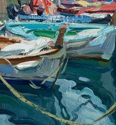 "detail from Vernazza Boats by Scott Burdick, 2007,Cinque Terra, Italy, oil, 12"" by 10"""