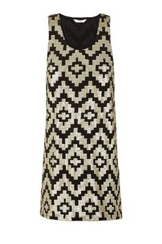 Sass and Bide THE ROOKIE DRESS - all over sequinned mini dress in geometric pattern with racer back.
