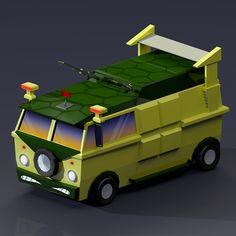 Low Poly Turtle Van render