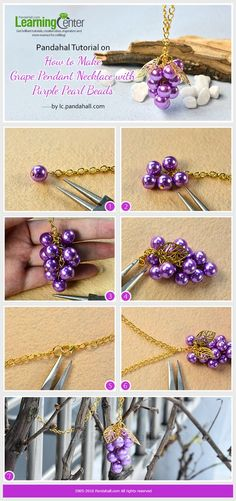 Pandahal Tutorial on How to Make Grape Pendant Necklace with Purple Pearl Beads from LC.Pandahall.com