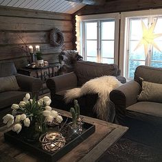 Chalet Interior, Interior Exterior, Interior Design Living Room, Cabin Homes, Log Homes, Cabin Interiors, Home Staging, Cozy House, Hygge