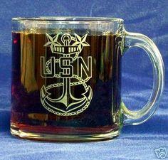 Custom Etched U. S. Navy CPO E-9 Emblem on 13 oz clear glass coffee Mug (1)