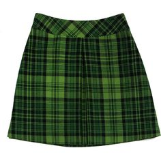 Pre-owned Anna Sui Green Plaid Wool Mini Skirt ($80) ❤ liked on Polyvore featuring skirts, mini skirts, green skirt, plaid miniskirt, wool skirt, green tartan skirt and short mini skirts