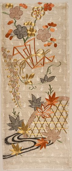 Fragment fo a Kimono (Kosode) with Design of Running Water, Basket and Noshi Paper with Flowers of the Four Seasons | LACMA Collections