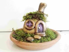 How To Make A Stone Fairy House and Garden With Polymer Clay 4X Speed - YouTube