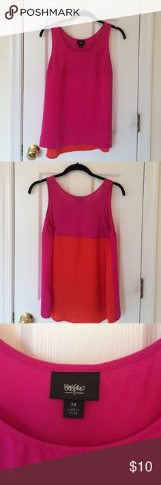Color blocked tank top Bright pink and orange color blocked tank top from Mossimo. Great condition! Perfect die summertime. Mossimo Supply Co Tops Tank Tops
