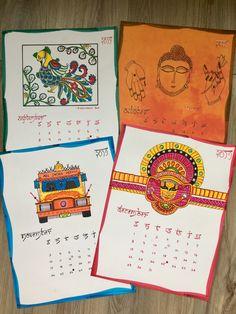 #kalamkariart #theyyam #indiantruckillustration #diycalender #indianfolkart Diy Calender, Indian Folk Art, Bullet Journal, Ads, Illustration, Illustrations
