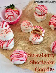 Strawberry Shortcake Cookies Recipe- no-bake, cookie sandwiches using strawberry jam #strawberryshortcake www.savoryexperiments.com