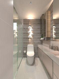 Revestimento para Banheiro: Tipos, Modelos e Fotos! Bath Decor, Alcove, Office Decor, Toilet, Bathtub, House, Bathrooms, Bathroom Accesories, Small Shower Room