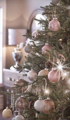 pale pink Christmas baubles