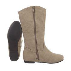 Ital Design Schnürstiefel Damenschuhe Klassischer Stiefel Blockabsatz Schnürer Reißverschluss Stiefel
