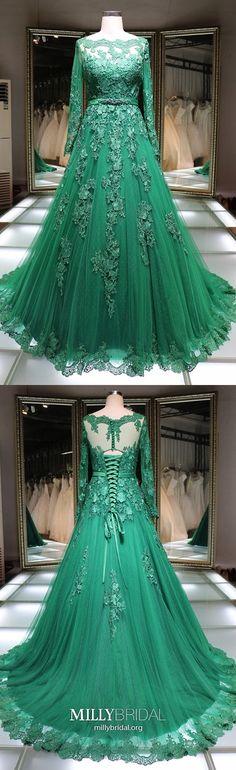 Long Prom Dresses Green, Long Sleeve Prom Dresses Princess, Tulle Prom Dresses Lace, Elegant Prom Dresses Lace-up Princess Prom Dresses, Prom Dresses For Teens, Prom Dresses Long With Sleeves, Elegant Prom Dresses, Formal Evening Dresses, Ball Dresses, Banquet Dresses, Prom Gowns, Dress Long