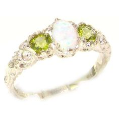 opal peridot  ring | Solid White Gold Natural Opal & Peridot English Victorian Trilogy Ring ...