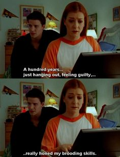 """I always thought Angel was so boring until he got his own show and could have a personality besides """"MUST LOVE BUFFY."""" I loved how the story unfolded (and he did make a lovely soulless evil bad guy) but I just never enjoyed them as a couple."""