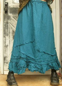 Long Flower Ruffle Skirt