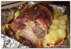 Rocambole de Carne Moída Trançada com Bacon