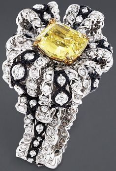 """DIOR. """"Salon de Vénus Diamant Jaune"""" ring in white gold, scorched silver, yellow…"""