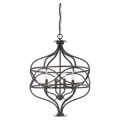 Bronze-finished pendant with a chandelier in a twisting frame.  Product: PendantConstruction Material: Metal