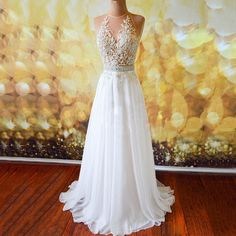 White Prom Dresses with Lace Appliques, Sexy Open Back Prom Dresses, Chiffon Prom Gowns with Sweep Train, #020102042 · VanessaWu · Online Store Powered by Storenvy