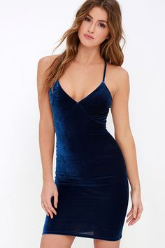 Lulus Exclusive! Make a special night even better when you slip into the Something Special Navy Blue Velvet Dress! Lovely velvet knit shapes a sultry bodice with darted cups, and rounded shoulder straps that meet a modified lace racerback (with exposed gold zipper). Open back transitions into a bodycon skirt. Hidden back zipper.