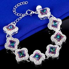 Vintage Square Cutl Rainbow Mystic Topaz Silver Plated Bracelet   eBay