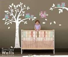 Owls Tree Wall Decal Owl Wall Decal Nursery Wall par smileywalls