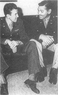 Jimmy Stewart and Captain Clark Gable Swap War Stories Source: Jimmy Stewart: Bomber Pilot Lieutenant Jimmy Stewart and Captain Clark Gable on leave in Hollywood in late On one of his Hollywood. Classic Hollywood, Old Hollywood, Famous Veterans, Old Movie Stars, Clark Gable, Star Wars, Military History, Famous Faces, World War Two