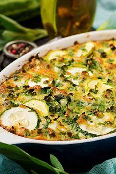 Gratin de courgettes léger Avocado Dressing, Parmesan, Vegetable Pizza, Bacon, Food And Drink, Veggies, Low Carb, Vegetarian, Pasta