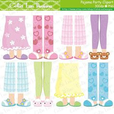 Girl Pajamas Feet Clip art set includes 8 cute clipart. Graphics are PERFECT for the Scrapbooking, Cards Design, Stickers, Paper Crafts, Web Design, T-shirt Design...More and more! Whatever your want! For more Pajama Party clipart: https://www.etsy.com/shop/CeliaLauDesigns/search?search_query=slumber [Details] ‧This is a digital download products ‧Saved in PNG format (individual PNG with transparent backgrounds) at High Resolution 300 dpi (each graphics height...