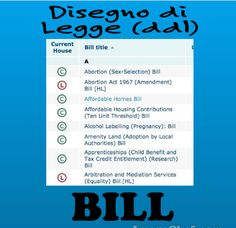 In English a DISEGNO DI LEGGE would be called a BILL and a PROPOSTA DI LEGGE a DRAFT BILL. However BILL has many other meanings in English too: fattura, conto, bancanota (USA), bolletta and don't forget the BILL OF RIGHTS (Carta dei diritti).