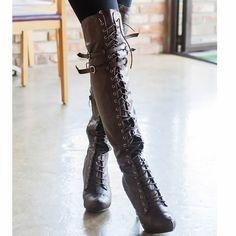Hot Brown Lace Up Thigh High Heel Platform Goth Punk Fashion Boots Women SKU-11405420 only $299.99!