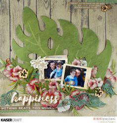 'Happiness' Layout by Design Team member Rikki Graziani for Kaisercraft Official Blog featuring their DD419 Texture Shells Decorative Die and their  'Island Escape' collection. (February 2017). Saved from kaisercraft.com.au/blog ~ Wendy Schultz ~ Scrapbook Layouts.