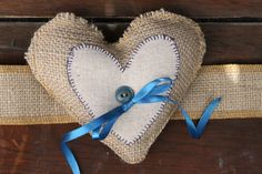 Items similar to Dog Collar-Rustic Ring Bearer Pillow- wrist band or Dog collar- blue and burlap- no embroidery on edge on Etsy Rustic Ring Bearers, Rustic Pillows, Ring Pillows, Burlap Crafts, Country Crafts, Wedding Planning, Wedding Ideas, Cowboy Hats, Embroidery