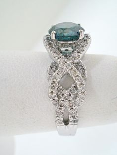 Loveee...Unique Fancy Blue & White Diamond Engagement Ring 14k White Gold 1.89 Carat Certified HandMade Ring