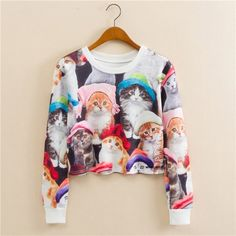Many Cute Cats Fashion Long Sleeved Short Sweater – WeLoveCats