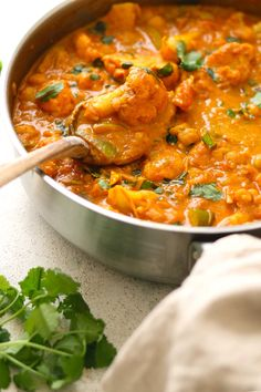 Warming and easy to make this vibrant Cauliflower and Chickpea Curry is packed with flavour. Perfect for a tasty weeknight dinner. Califlower Recipes, Crockpot Cauliflower, Cauliflower And Chickpea Curry, Chickpea Recipes, Vegetarian Recipes, Cooking Recipes, Grilling Recipes, Healthy Recipes, Vegetarian