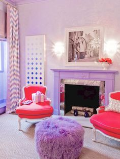 Eclectic Living Room from Interiors By Studio M. Love the colors. Love the fun purple pouf.♥♥♥