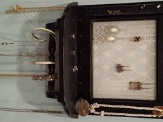 View our sold hanging jewelry organizers to get ideas for a custom piece or pieces. Jewelry Holder Wall, Wall Mount Jewelry Organizer, Jewelry Wall, Hanging Jewelry Organizer, Wall Organization, Jewelry Organization, Bridal Shower Gifts, Bridal Gifts, Mirror Hanging